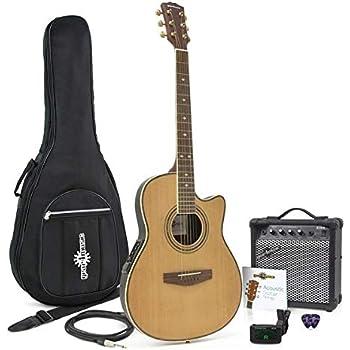 Guitarra Electroacustica de Tapa Trasera Redonda + Pack con Ampli de 15W Natural: Amazon.es: Instrumentos musicales
