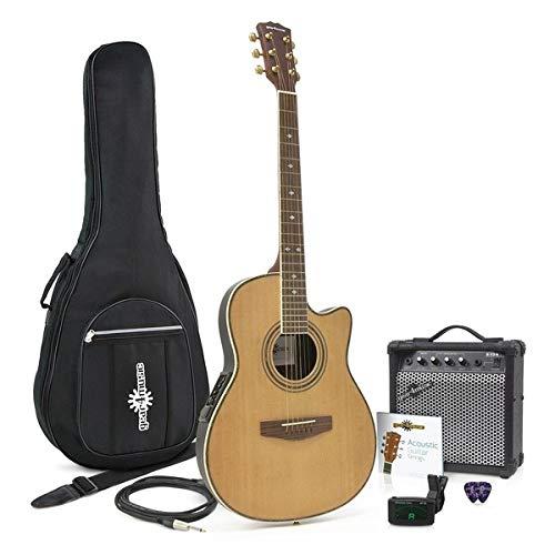Guitarra Electroacustica de Tapa Trasera Redonda + Pack con Ampli de 15W Natural