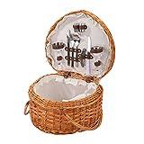 Cowslip Cesta de pícnic con forma de corazón, tejida a mano, cesta de pícnic al aire libre con cubiertos, adecuada para excursiones familiares