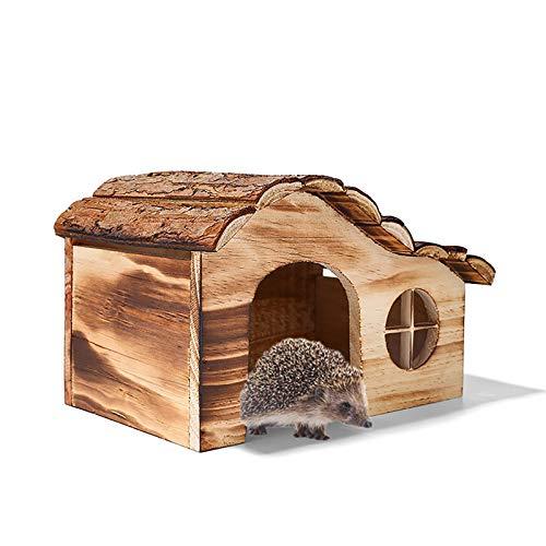 Litty Igelhaus Winterfest Katzensicher, Holz Igel Haus für Garten und Haustier Tierheim Winterschlaf Shelter mit Windows robust Bauen und wetterfest Large