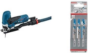 Bosch GST 90 - Sierra eléctrica (2,3 kg) + Hoja de sierra de calar T 118 A - Basic for Metal (pack de 3)