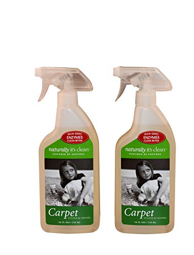 Naturally It's Clean Carpet Stains & Odors Cleaner; Plant Based Enzyme Safely Cleans Pet/Food Stains, Grease & Ink from Carpets, Rugs, Upholstery & Drapery, Pet&Child Safe, 24oz Spray Bottle x 2 Pack