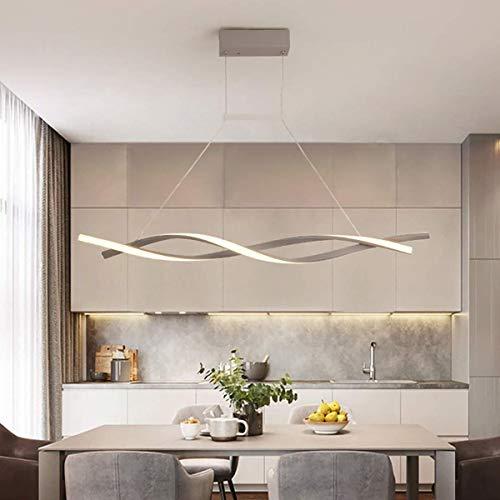 NQCT Lampada a Sospensione LED Dimmerabile, con Telecomando Luce Pendente Moderno Creativo Spirale Design Lampadario per Isola della Cucina Bar Sala da Pranzo Salotto Loft,Grigio,L 120CM