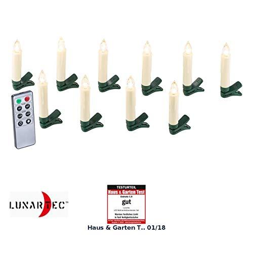 Lunartec LED Weihnachtsbaumkerzen: 10er-Set LED-Weihnachtsbaum-Kerzen mit IR-Fernbedienung, weiß (Baumkerze)