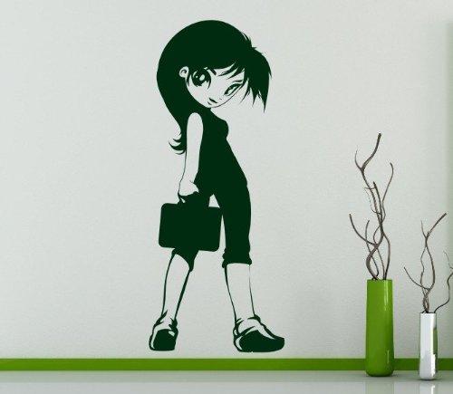 Cute Manga Girl - Kids / Teenager Room Wall Sticker (Large: 50cm x 120cm) by Broomsticker