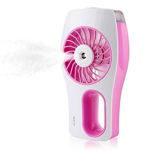 Winnes JUF03 - Ventilatore portatile ad acqua, alimentato a batteria, con raffreddamento, nebulizzatore e ventola USB, per bellezza, casa, ufficio e viaggi, colore: rosa
