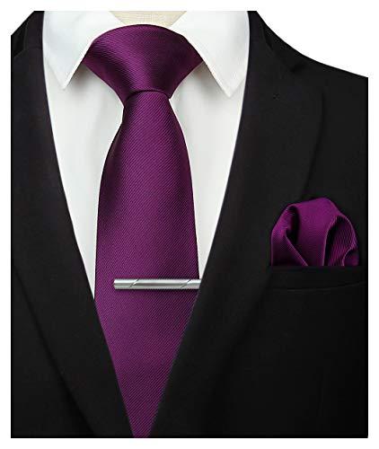 HISDERN Panuelo de corbata morado liso para hombre Fiesta de bodas Corbata...
