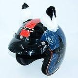 2 unids/Set Coche Casco de la Motocicleta Decoración de la decoración Creativa Diamante Gato Orejas Pasta de Peluche para Cascos de Moto Cosplay Style Car Styling (Color : Black and White)