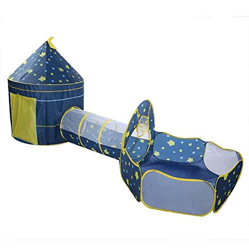 AYNEFY 3 in 1 Spielzelt Bällebad Krabbeltunnel Kinder Zelt Jungen Mädchen Tunnel Sternenhimmel Spielhaus für drinnen und draußen, Blau