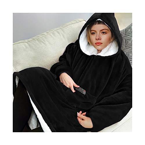 MICOLOD Sudadera con capucha de gran tamaño para mujer, de invierno, con forro polar, con mangas, para ver la televisión Negro M
