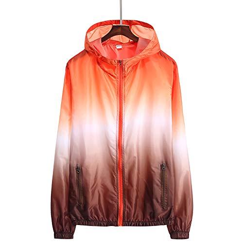 Puran Unisex schnelltrocknende Taschenjacke mit Kapuze, UV-Schutz, Sonnenlicht, wasserdicht, Angeln, Laufjacke, Polyester, Orange + Kaffee, xxl