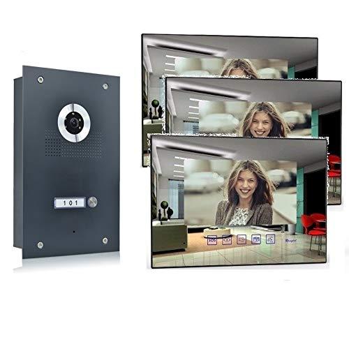 Video Türsprechanlage Gegensprechanlage mit 7'' Monitor Kamera 170° Anthrazit, Farbe: Ohne, Größe: 3x7'' Monitor