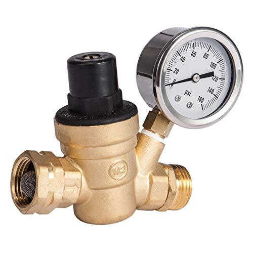 HGFHGD M11-0660R Wasserdruckregelventil Messing bleifrei einstellbares Wasserdruckregler Manometer