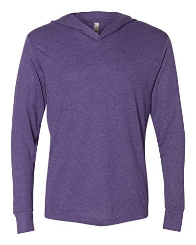 Next Level Unisex Triblend Hooded Long Sleeve Pullover, XS, Purple Rush