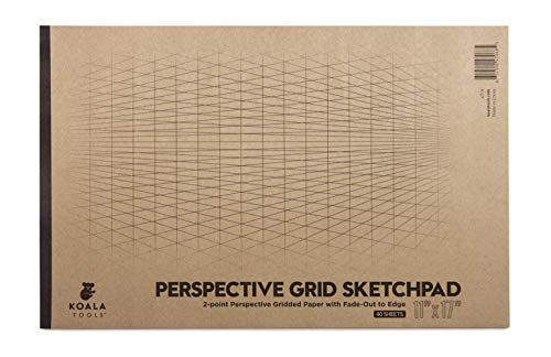 Koala Tools | Drawing Perspective (2-Point) Large Sketch Pad | 11' x 17', 40 pp. - Perspective Grid Graph Paper for Interior Design, Industrial, Architectural and 3D Design