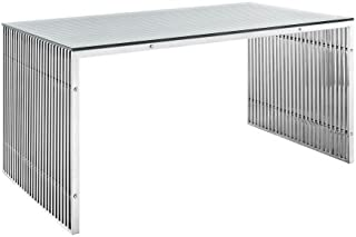 East End Imports EEI-1433-SLV Gridiron Stainless Steel Dining Table44; Silver