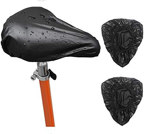 Riveryy 2 Piezas Funda de Asiento de Bicicleta Impermeable Cubierta Impermeable para Sillín de Bici,Protector Elástico de Lluvia (Negro)