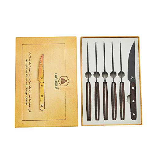 LAGUIOLE - Coffret de 6 Couteaux de Table - Bois Wengé - Lame Noire - Wenge - marron