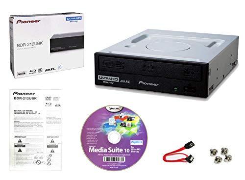 Pioneer BDR-2212 Pacchetto unità masterizzatore Blu-ray 16x interna con software di masterizzazione Cyberlink, cavo SATA e viti di montaggio - Masterizza dischi CD DVD BD DL BDXL