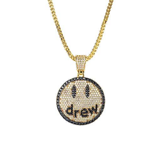 Moca Jewelry Hip Hop Iced out Bling Name Andrew Colgante Drew Cadena Collar de Perro Chapado en Oro...