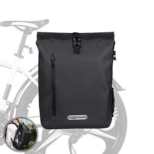 SPITZE FORGE Bike Backpack, 27L Waterproof PVC Bicycle Saddle Bag on Rear Rack Convertible 3 in 1 Roll Top Commuting Bike Pannier Bags Daypack for Outdoor Cycling Hiking Fishing Camping - Black