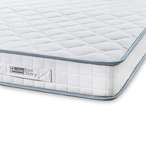 BedStory Mattress, Single Mattress 90x190x14cm Sleeping Sprung Mattress Medium Firm Bonnell Spring Mattress with Breathable Fabric Fire Resistant Barrier Skin-friendly Durable for Bedroom