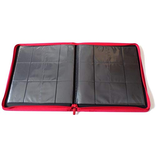 docsmagic.de Pro-Player 12-Pocket Playset Zip-Album Red - 480 Card Binder - MTG - PKM - YGO - Cremallera Roja