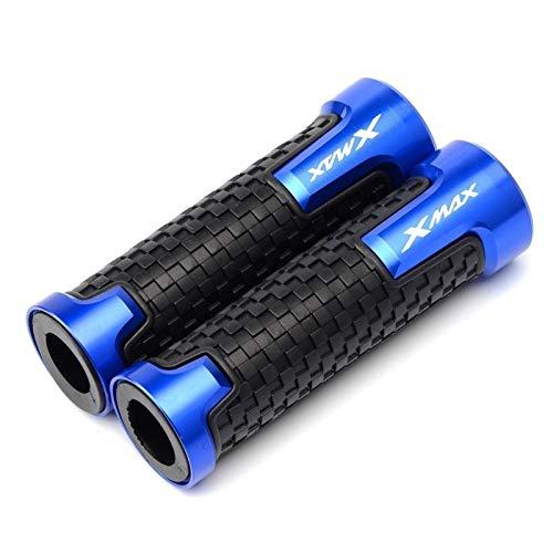 Doremifa Manillar de motocicleta de 22 mm de goma de aluminio CNC exquisitos accesorios Agarraderas para Yamaha AHA Xmax 125/250/300/400 todos los años Pro Taper Grips (Color: Azul)
