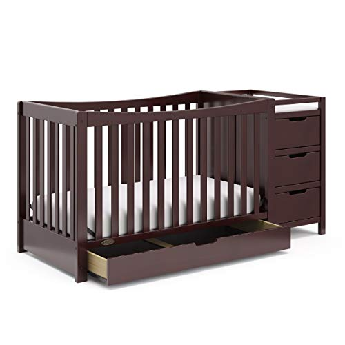 Graco Remi 4-in-1 Convertible Crib with Drawer and Changer (Espresso) - JPMA-Certified Crib with Storage Drawer, Attached Changing Table with 3 Drawers, 2 Shelves, and Water-Resistant Changing Pad