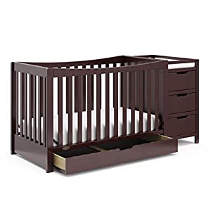 Graco Remi 4-in-1 Convertible Crib and Changer, Pebble Gray/White, Easily Converts to Toddler Bed Day Bed or Full Bed, Three Position Adjustable Height Mattress, Assembly Req (Mattress Not Included)