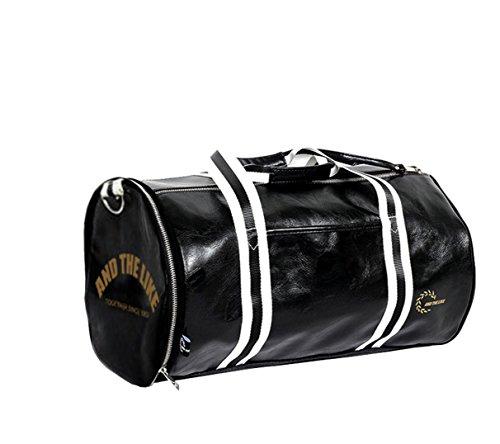 Quanjie Borsa da Palestra Impermeabile Borsone Viaggio PU Pelle Borsoni Sportivo con Vano Scarpe Separato di Travel Duffel Weekend Bag per Donne e Uomini (nero)