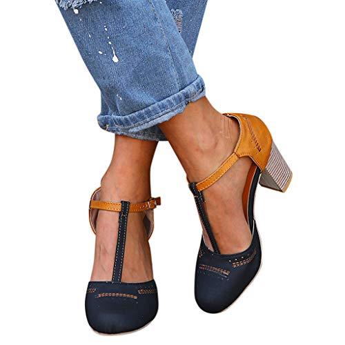 2019 Zapatos De Tacón Alto Ancho, Sandalias De Vestir En Contraste Punta Redonda Zapatillas con Hebillas Sandalias Romanas De Boda Fiesta De Baile Elegante Chic De Verano Primavera 35-43 (Negro1, 39)