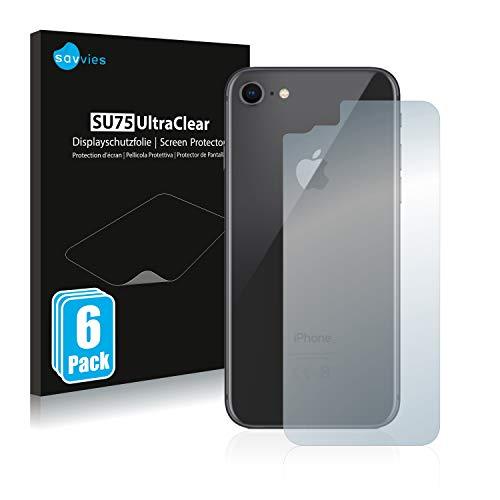 Savvies 6X Schutzfolie kompatibel mit iPhone 7/8 (Rückseite) Displayschutz-Folie Ultra-transparent