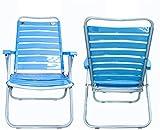 Silla de Playa Plegable reclinable de Acero, Liviana, portátil, Ajustable, Plegable, de Playa, para Acampar, Ideal para Acampar al Aire Libre, césped, Concierto, Tumbona Azul, sillas de Jard