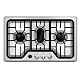 Furrion 7500BTU RV Chef Collection Gas Cooktop with 3x Gas Burners; Pulse Ignition and Cast Iron Grate (Stainless Steel) - FGH4ZSA-SS
