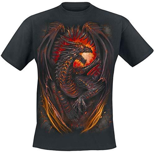 Spiral Dragon Furnace Männer T-Shirt schwarz XL 100% Baumwolle Drachen, Everyday Goth, Gothic