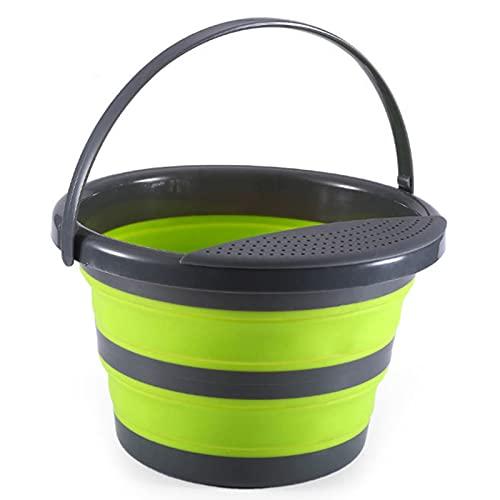 illuMMW Cubo plegable con escurridor y asa, cubo de agua plegable multiusos para camping, senderismo