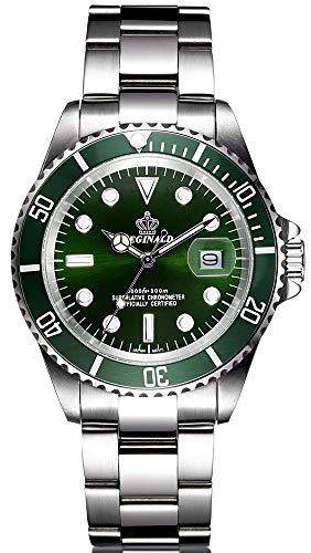 Orologio da Uomo d'affari Lunetta Girevole Orologio da Polso al Quarzo in Acciaio inossidabile Mani Luminose Data Calendario (Verde)