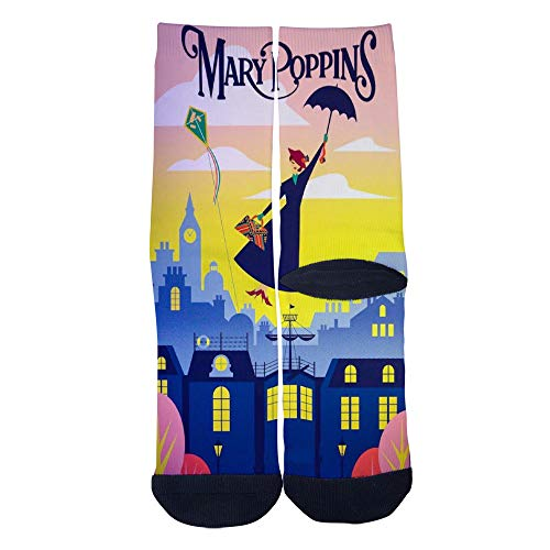 Men's Women's Custom Crew Socks Vintage Travel Posters Mary Poppins Disneyland Socks Colorful Patterned Comfortable Socks Black
