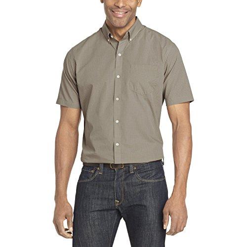 Van Heusen Men's Wrinkle Free Short Sleeve Button Down Check Shirt, Aluminum Minicheck, Large