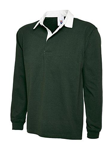 UC401 Uneek 330 gsm Premium Rugby Shirt - Flaschengrün, 3XL