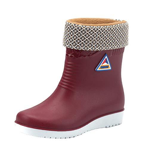 LAEMILIA Gummistiefel Damen Gefüttert und Wasserdicht Kurze Regenstiefel Winterstiefel Warme Regenschuhe Schlupfstiefel Rain Boots