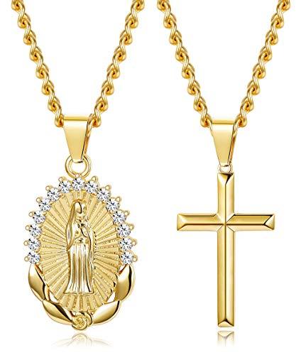 Milacolato 14 Karat Vergoldet Anhänger Halskette für Frauen Mädchen Religiöse Schmuck Geschenke für Frauen Halskette Set
