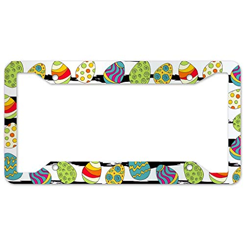 WOSITON Easter License Plate Frame 4 Pieces Design License Plate Frame With 4Holes Fite For Home white 16x31cm