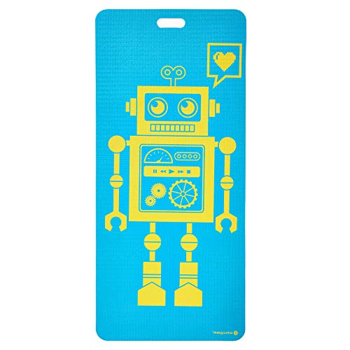 MERRITHEW Kids Yoga And Exercise Mat, Pixel The Robot (Aqua) 0.15 inch / 4 mm
