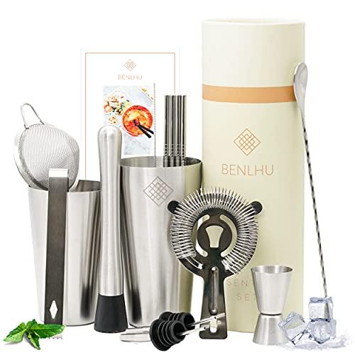 Benlhu Premium Cocktail Shaker Set - 15 Teiliges Cocktail Mixer Geschenk Set - Edelstahl Boston-Shaker 750ml, Reichhaltiges Bar Zubehör & Rezeptheft | für Zuhause oder die Bar