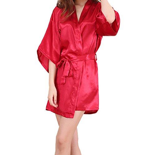 Sidiou Group Vestido Pijama Mujer Kimono Corto Bata de Satén Lencería Kimono del Cordón Satén Seda de Hielo Bata Albornoz Camisón (M, Estilo 2-Rojo)