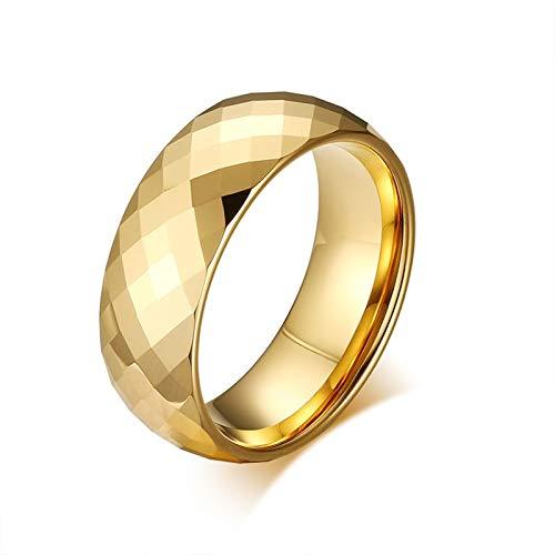 LOUMVE Vergoldet Ring Herren Wolframcarbid 8MM Verlobungsringe Eheringe Titan mit Gravur Größe 54 (17.2)