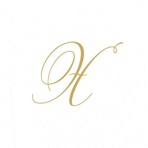 Paper Napkins for Cocktails Monogrammed Personalized with Initial White and Gold X-60 Count Boxed