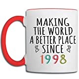 22nd Birthday Coffee Mug Gifts Making The World a Better Place Since 1998, Coolest Gifts for 4th of July, Christmas or Fathers, Mothers Day - 11oz Red Handle Mug